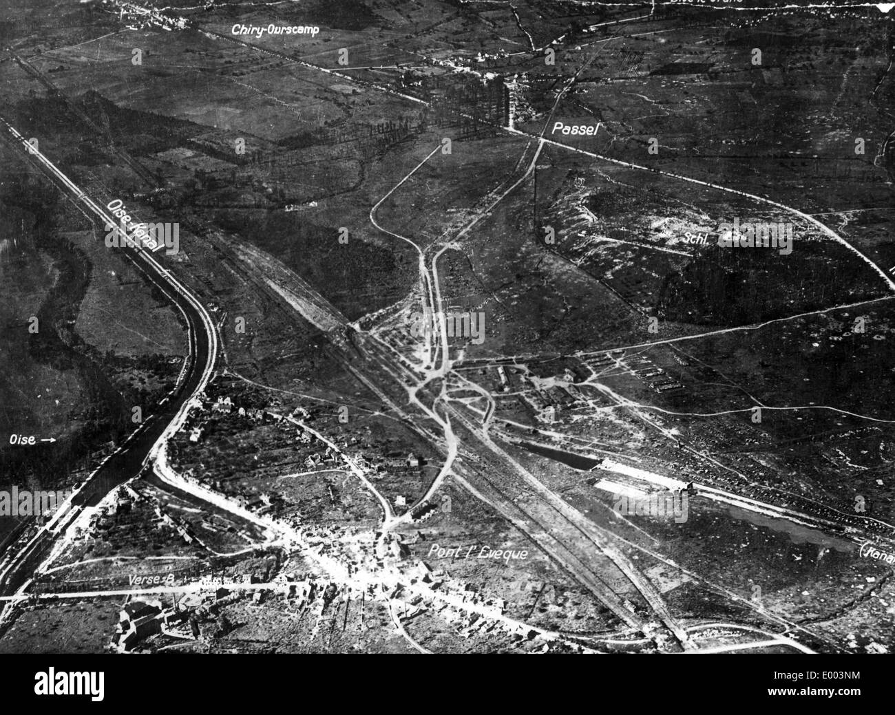 Aerial picture of the battle zone in the Picardy, 1918 Stock Photo