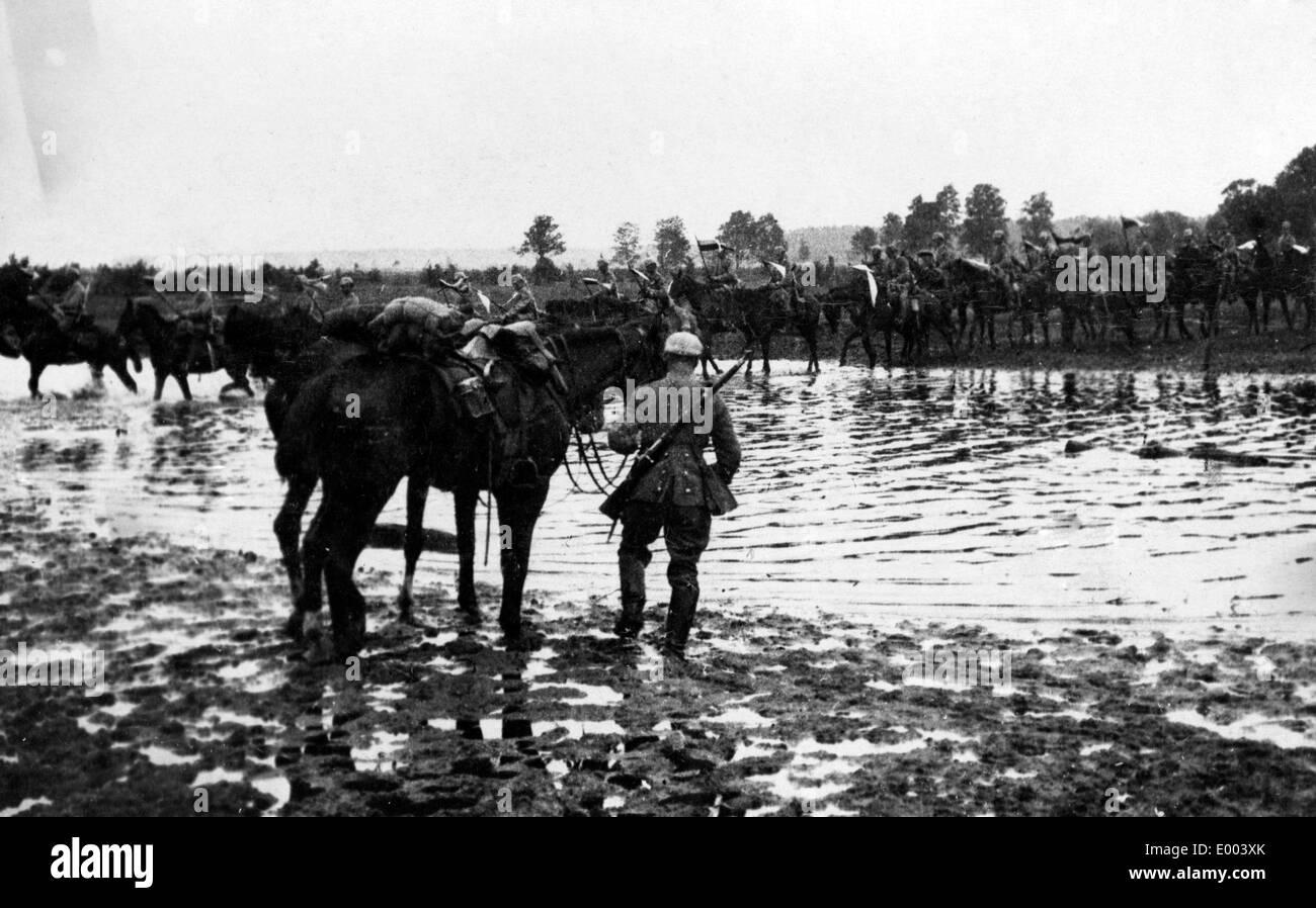 German cavalry near the Daugava River, 1915 - Stock Image