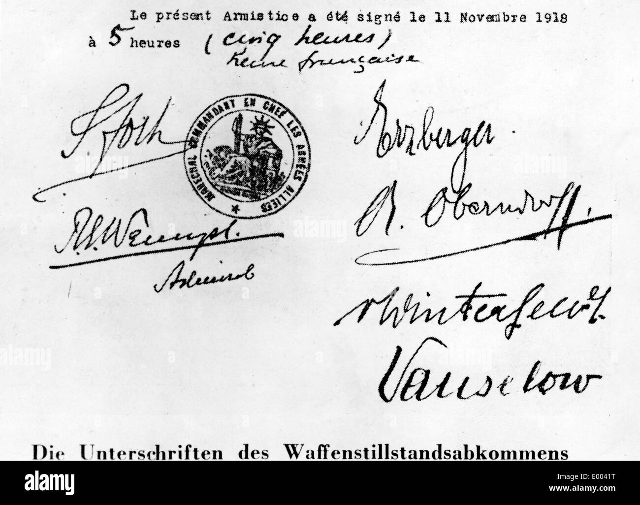 Signed Armistice Agreement from Compiegne, 1918 - Stock Image