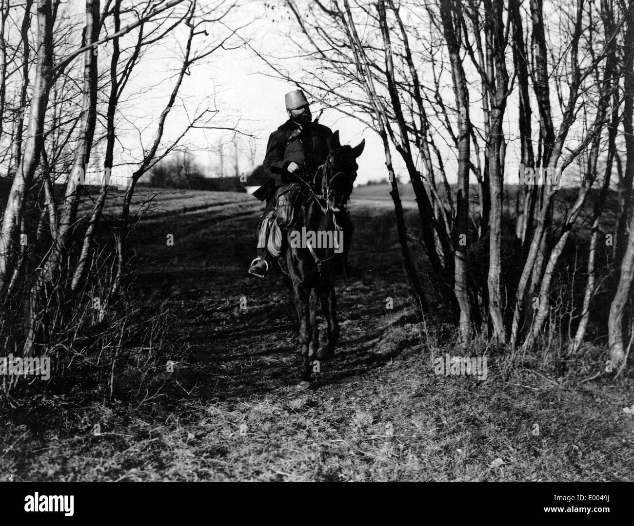 Austrian hussar on patrol, 1914 - Stock Image
