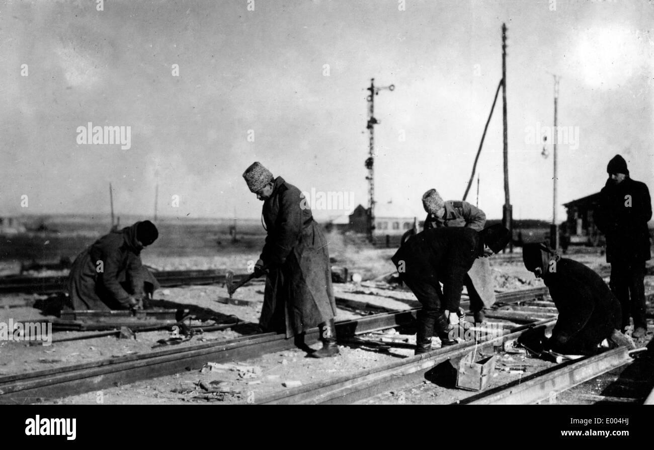 Reparing railroad tracks Stock Photo