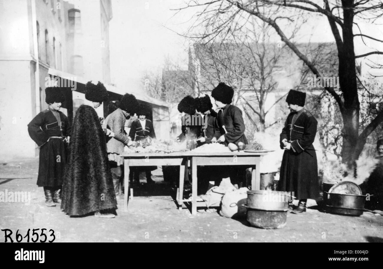 Cossacks in the field kitchen Stock Photo