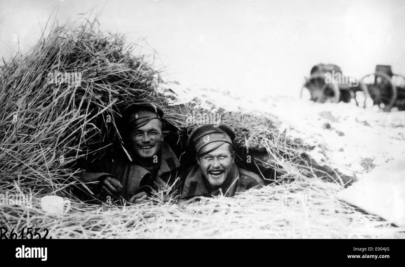 Russian soldiers in a foxhole Stock Photo