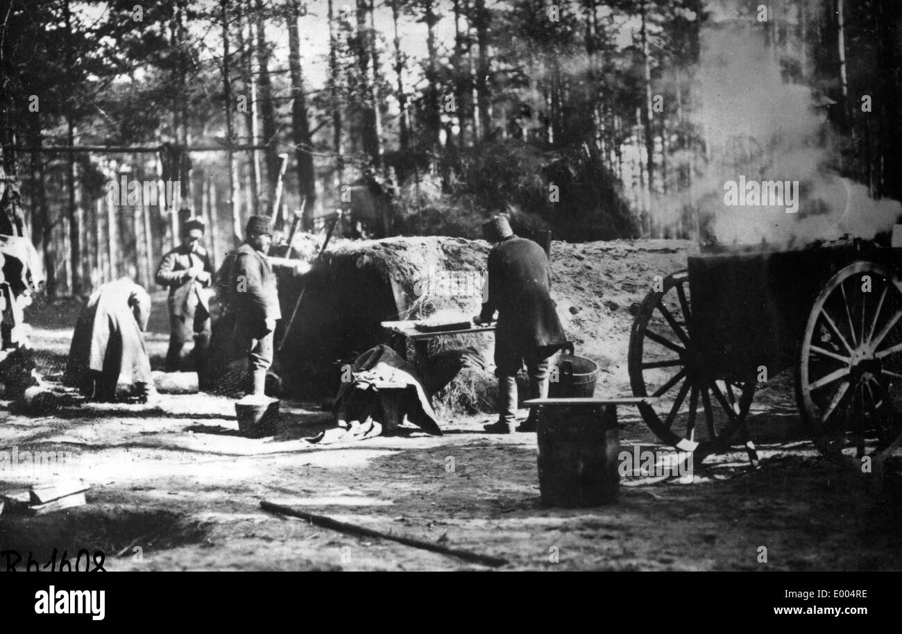 Russian field kitchen in the First World War Stock Photo