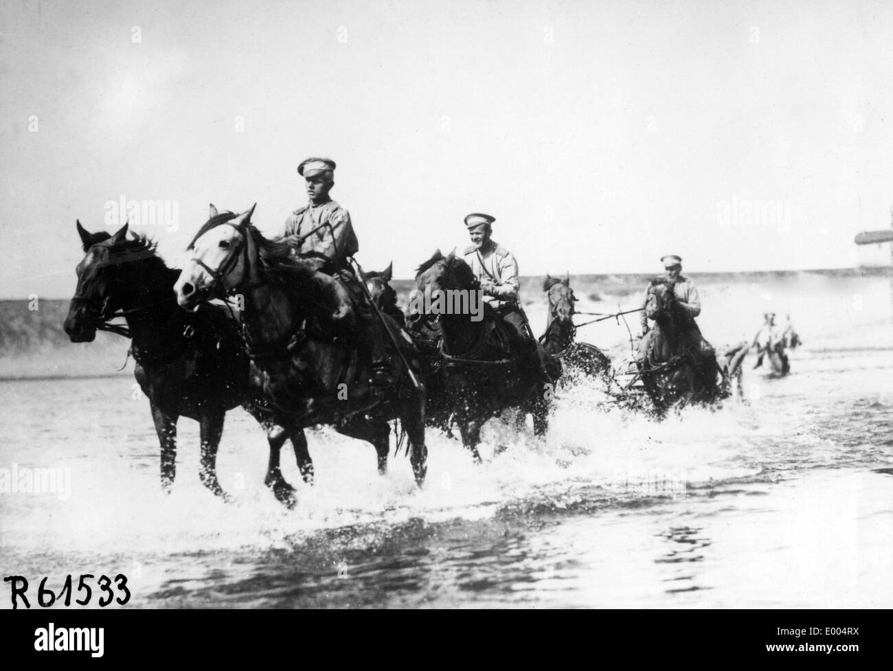 Russian marching column in WW I Stock Photo