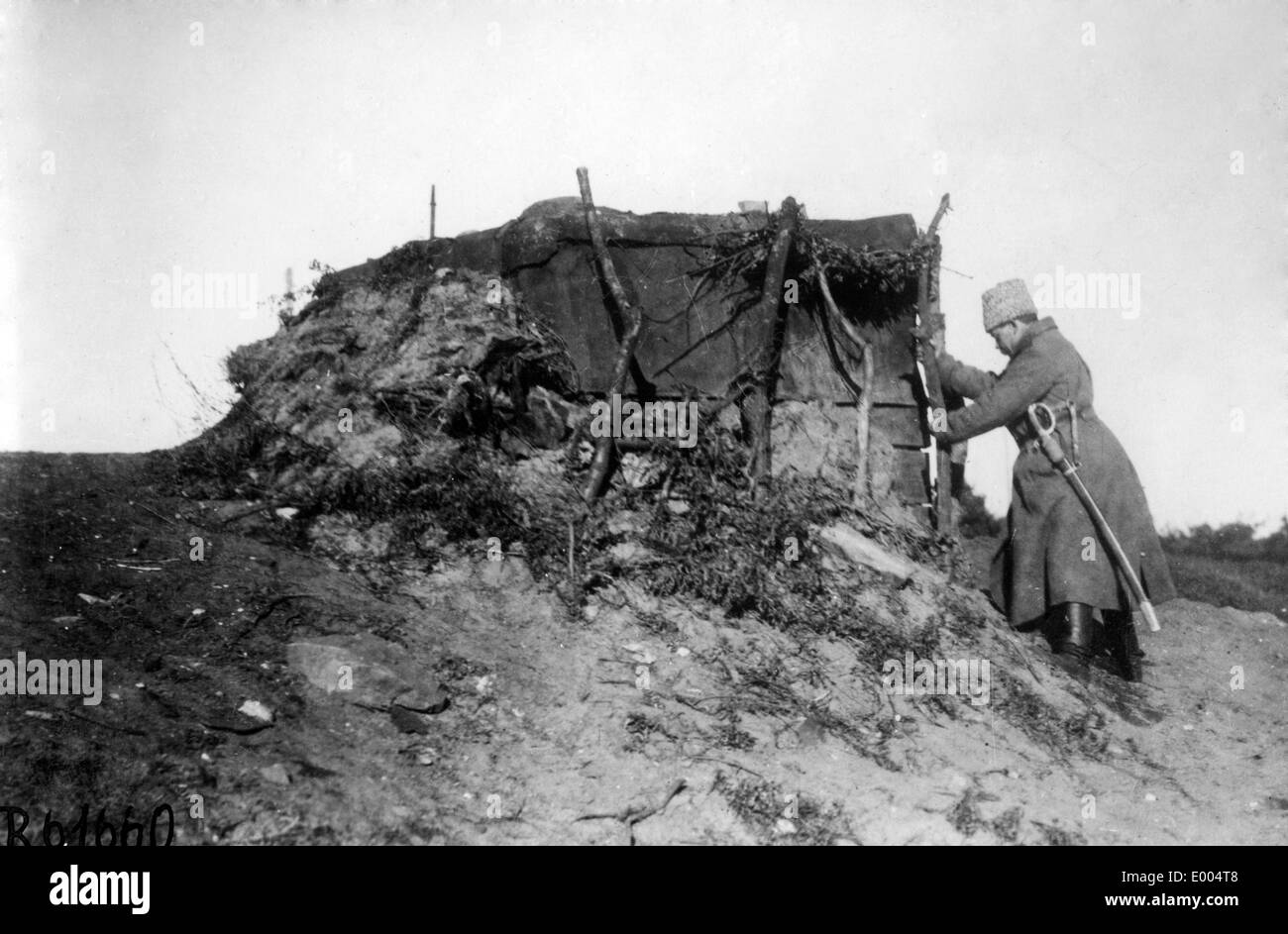 Russian duck blind during WW I - Stock Image