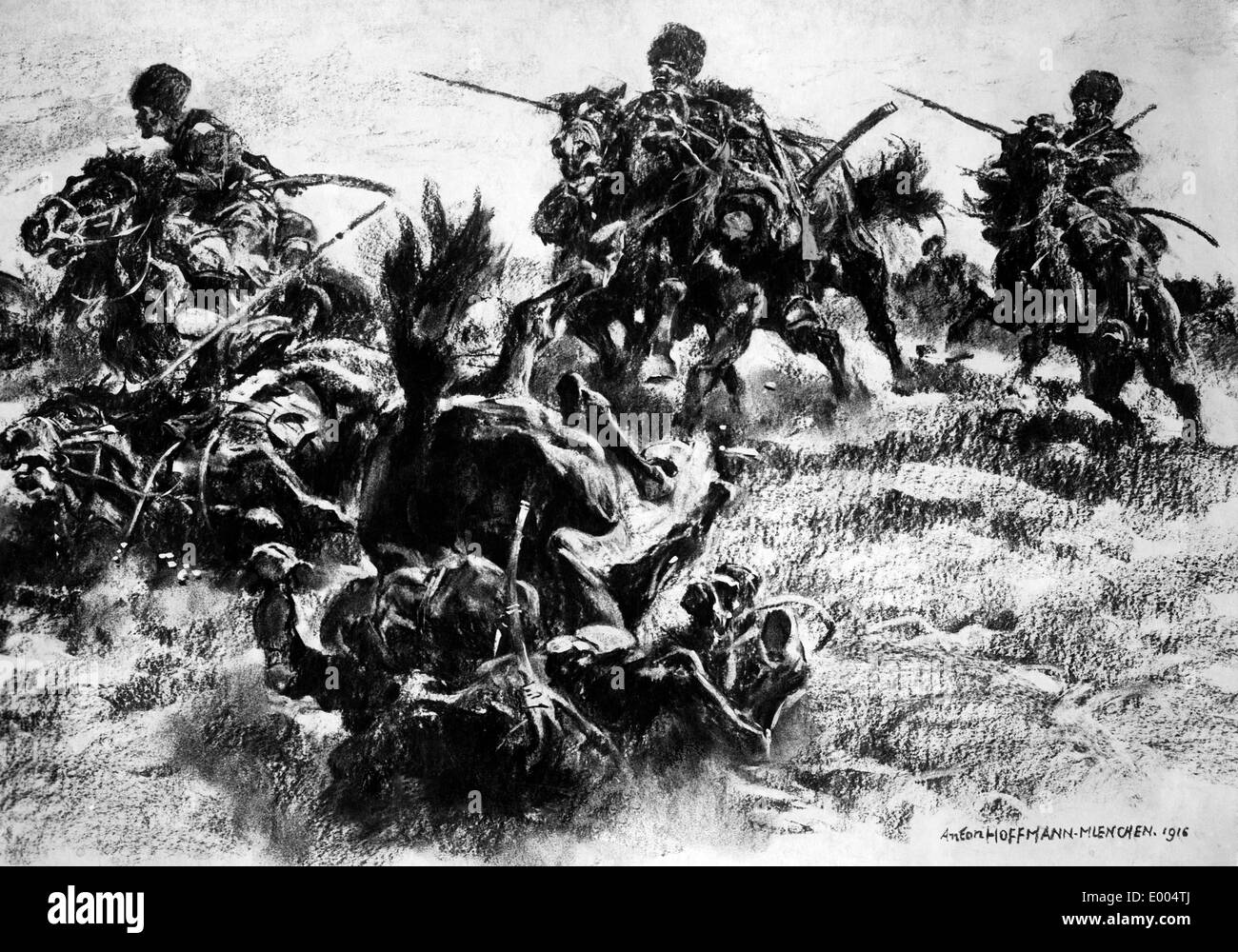 Drawing of Russian Cossacks, 1916 - Stock Image