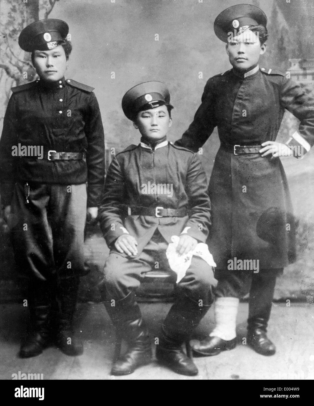 Kalmyk soldiers from Western Mongolia, 1914 - Stock Image