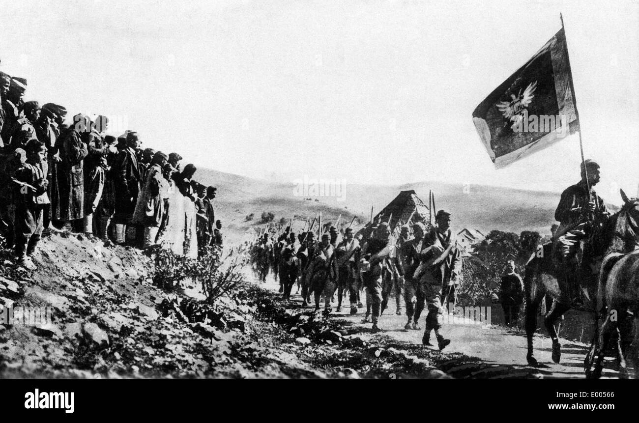 Montenegrin soldiers set forth to battle, 1915 Stock Photo
