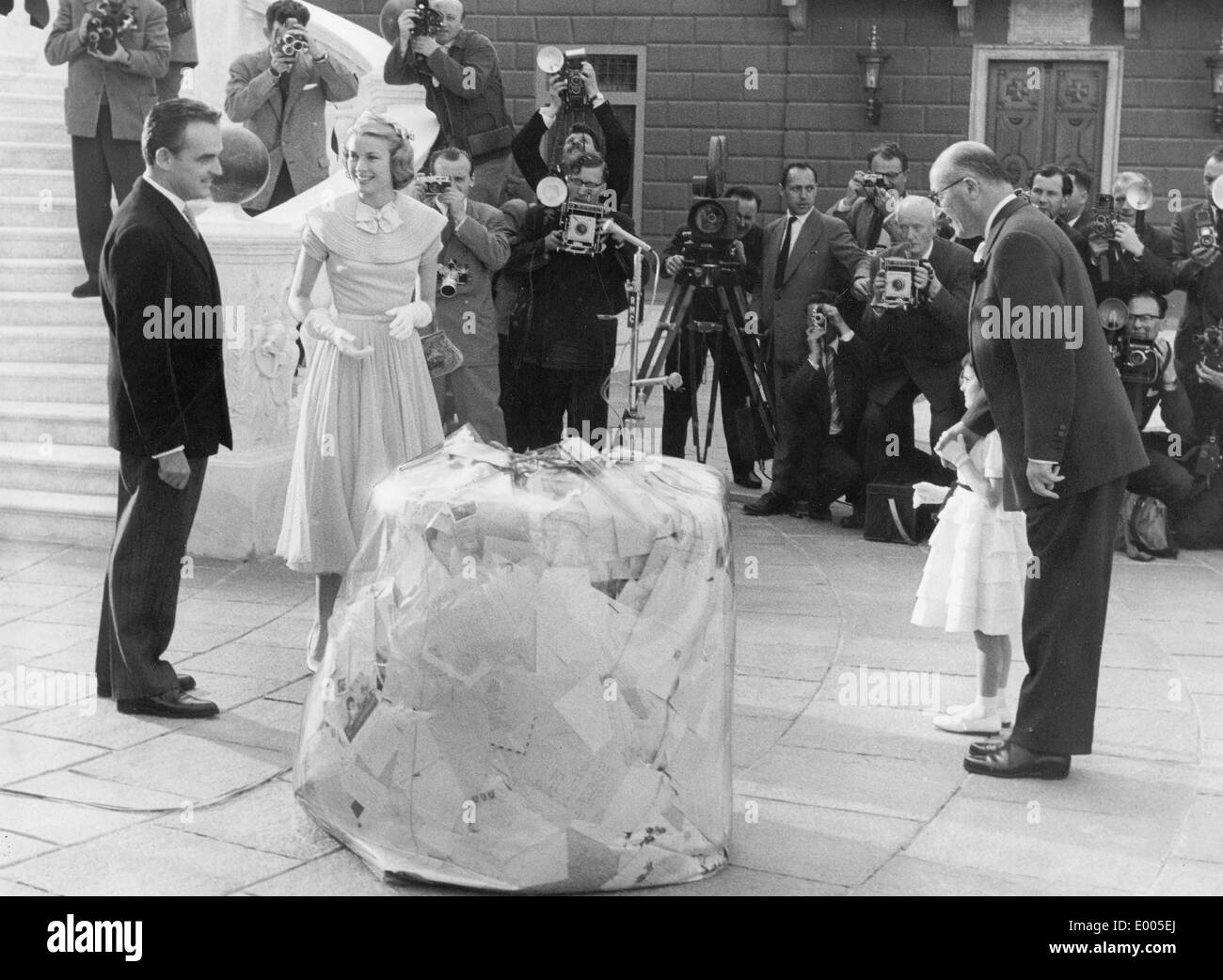 The wedding of Grace Kelly and Prince Rainier III of Monaco, 1956 - Stock Image