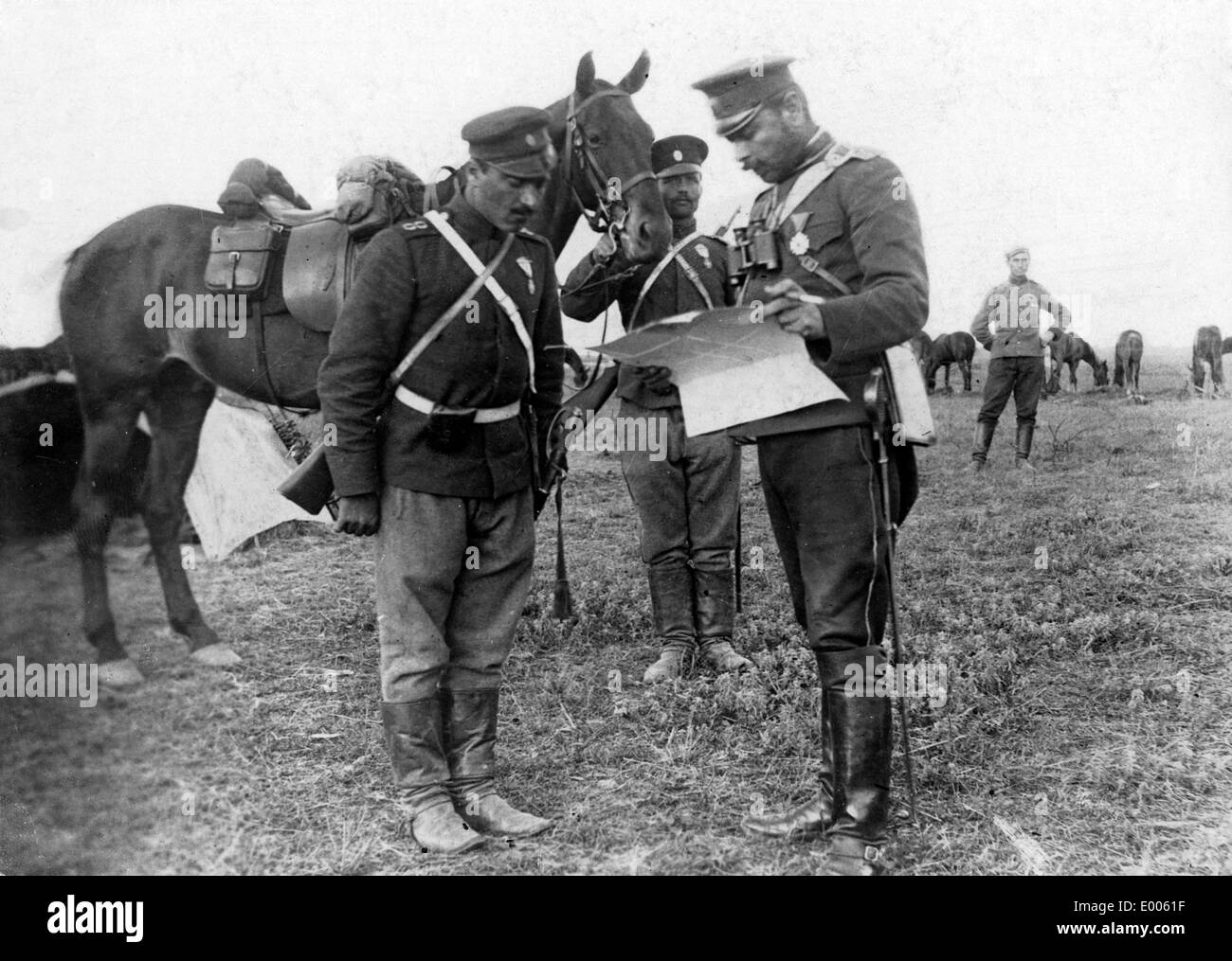 Bulgarian dispatch rider with a map, 1915 - Stock Image