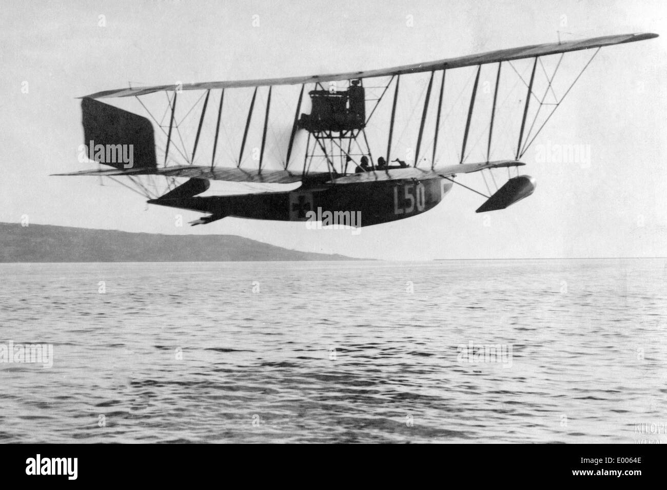 Austro-Hungarian hydroplane at the front in Italy, 1916 - Stock Image