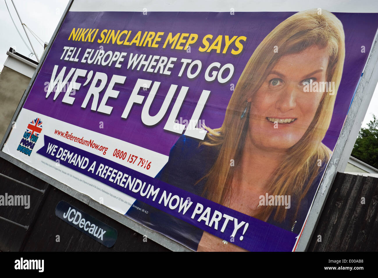 Hereford, England, UK. 28th April 2014. 48 sheet advertising billboard hoarding for Nikki Sinclaire MEP of the We Demand a Referendum Now Party, Member of the European Parliament for the West Midlands. 2014 European Parliament election is scheduled to be held on Thursday 22 May 2014. - Stock Image