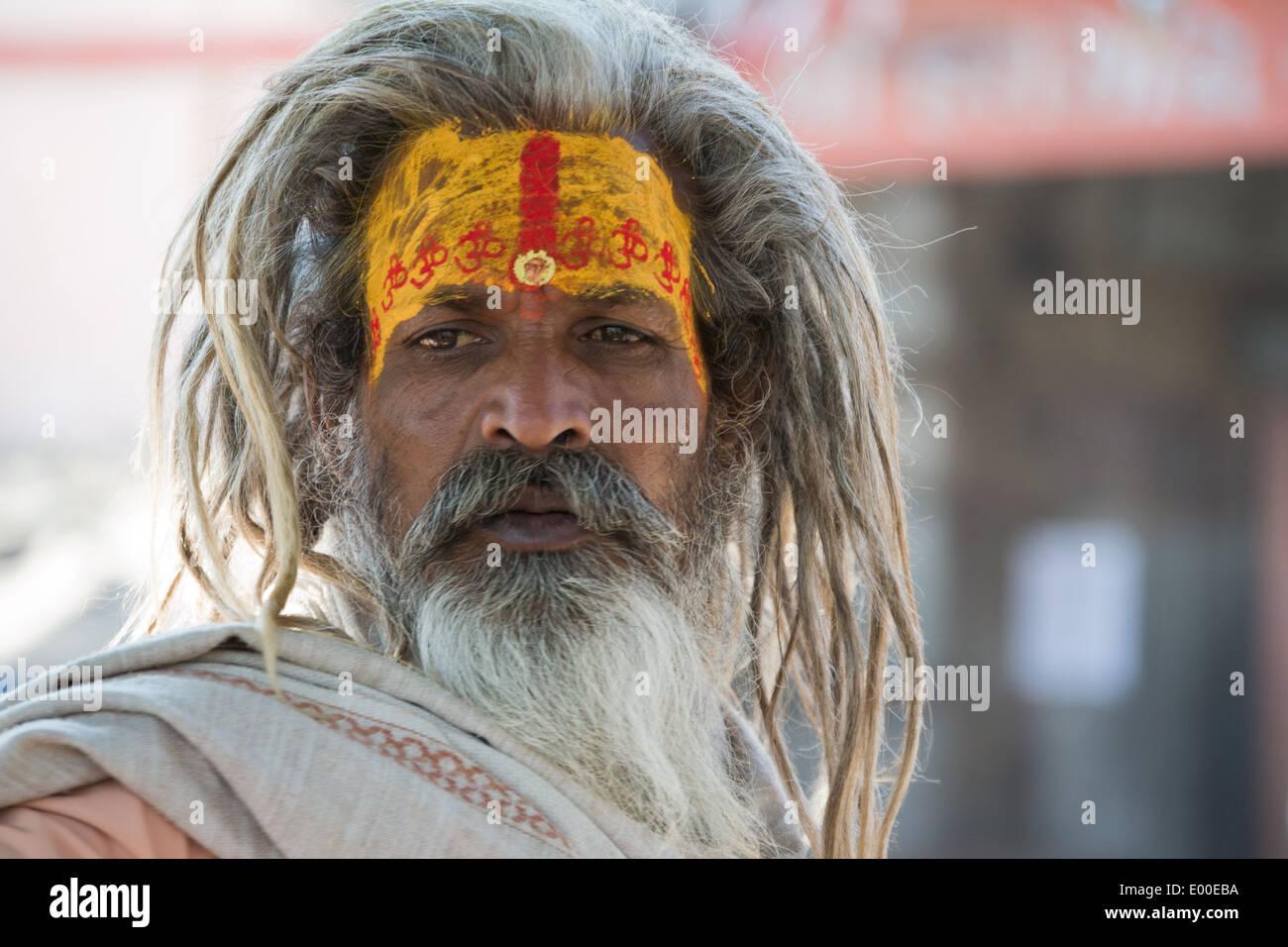 India. Sadhu (Holy man) in Ujjain, Madhya Pradesh. - Stock Image