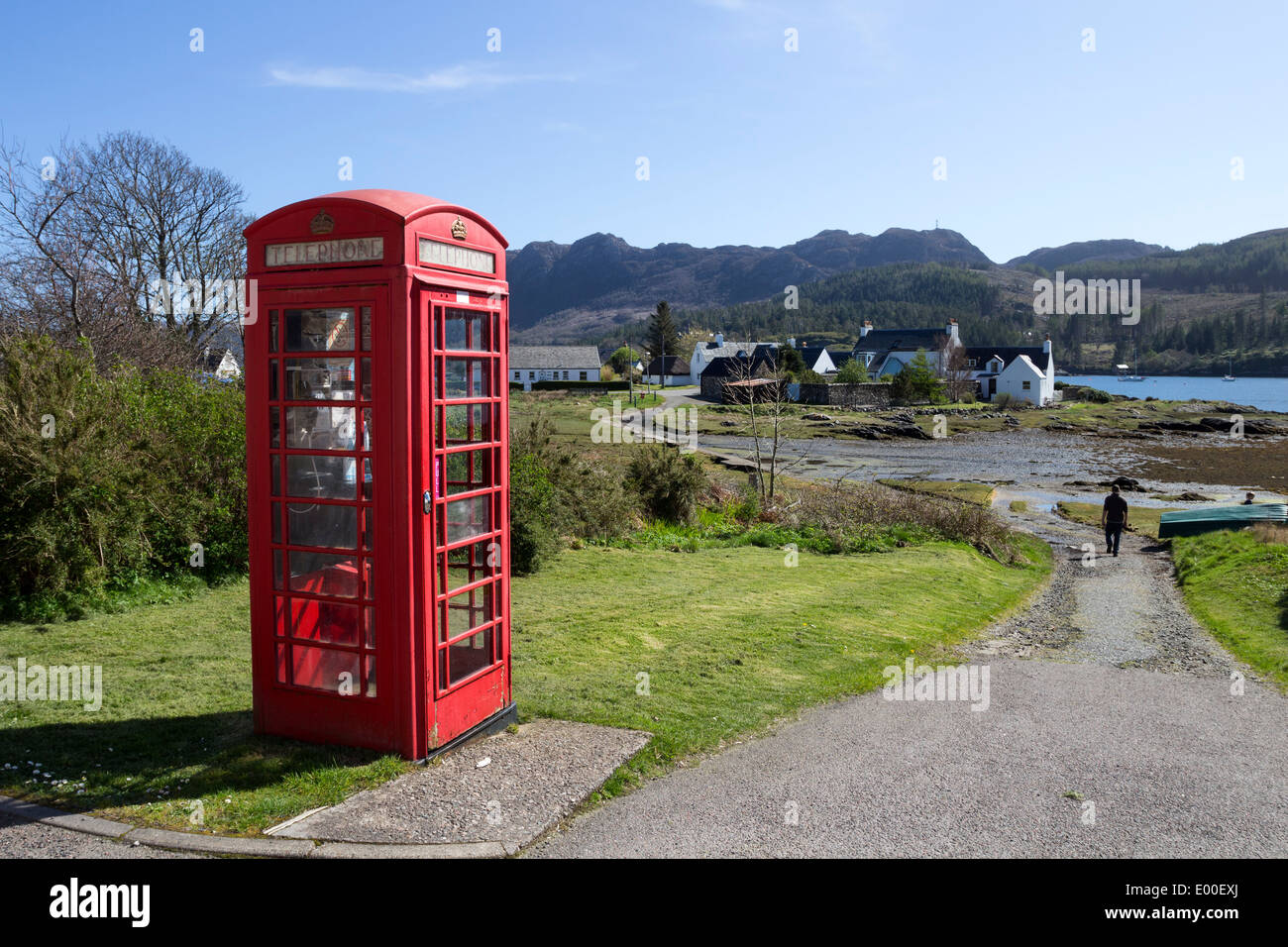 Red Telephone Box in the Village of Plockton West Coast of Scotland UK - Stock Image