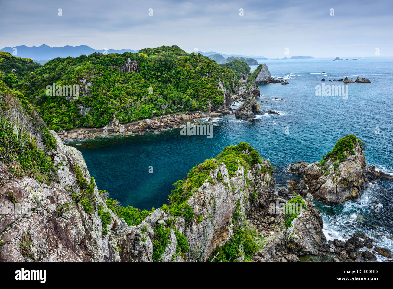 The Cove at Taiji, Wakayama, Japan. The site is known as the infamous location of the yearly dolphin drive hunt. - Stock Image