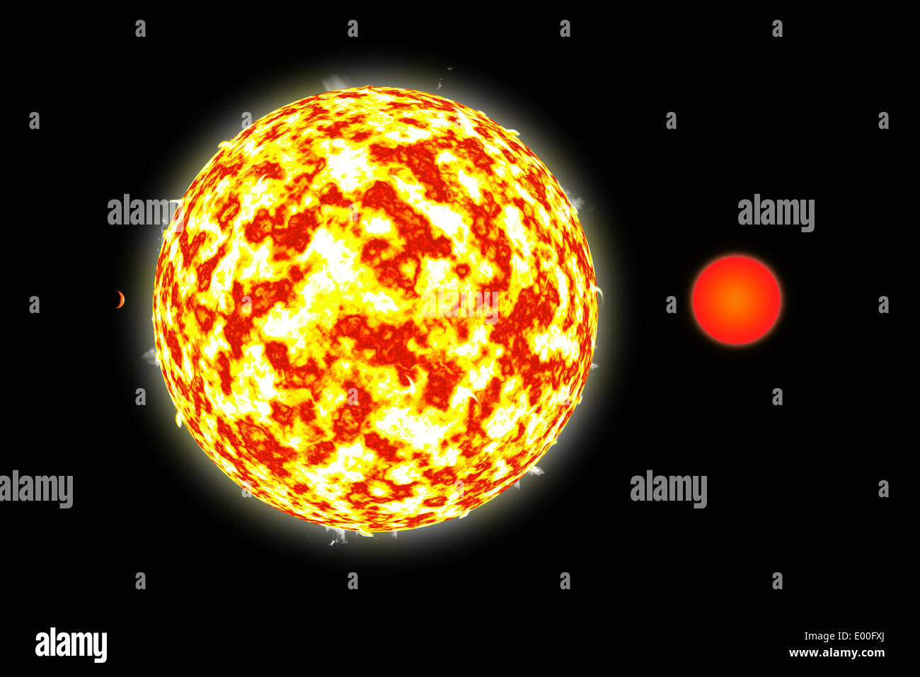 An artist's depiction of a binary star system with a close orbiting planet. - Stock Image