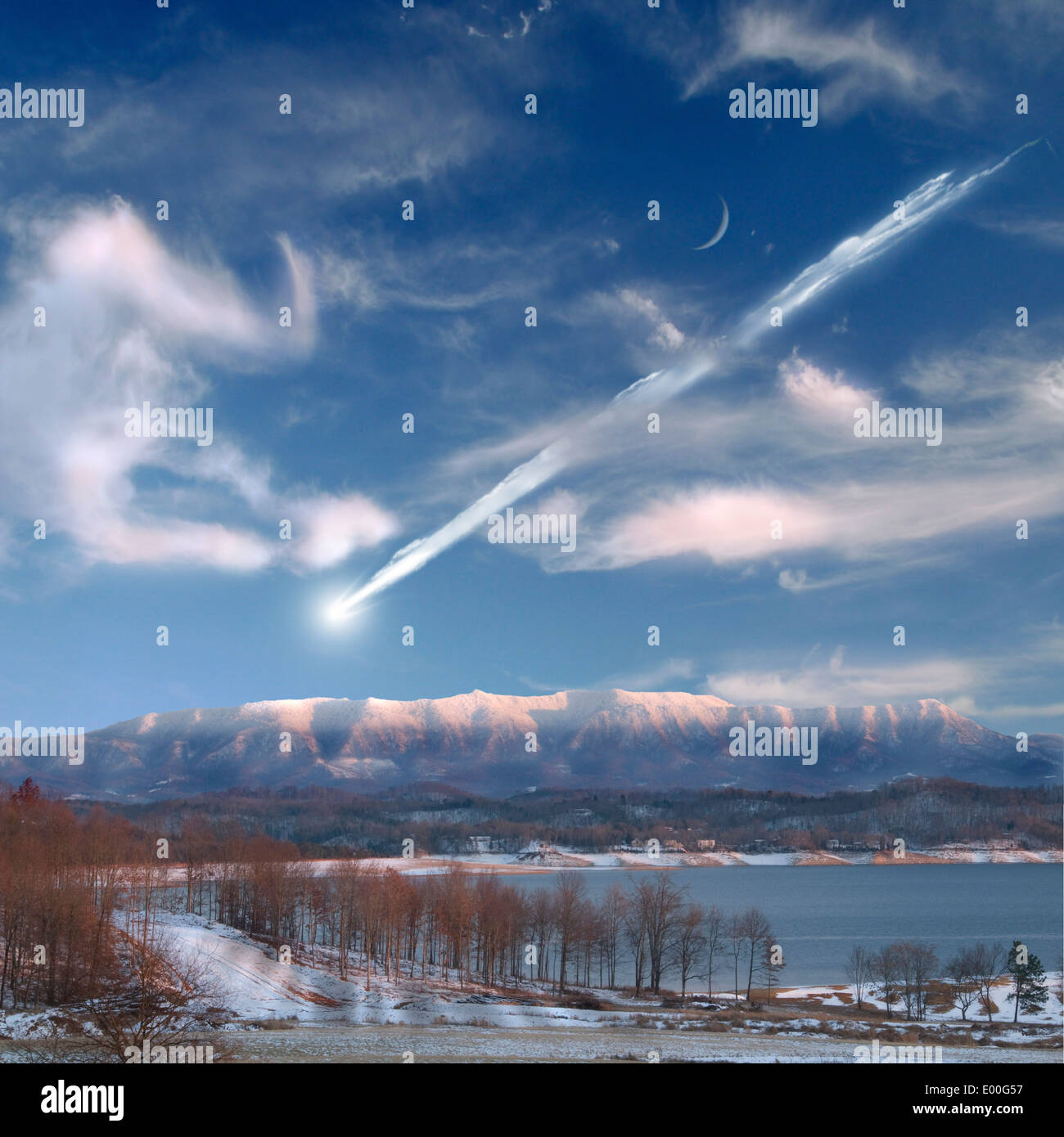 An artist's depiction of a large meteor entering Earth's atmosphere and about to impact in a mountainous area. Stock Photo