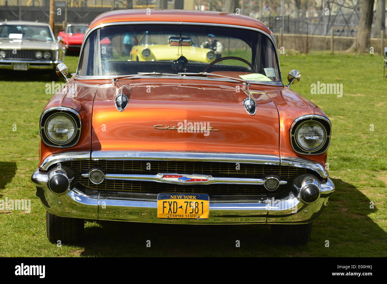 Floral Park, New York, U.S. 27th April, 2014. An Orange 1957 Chevrolet