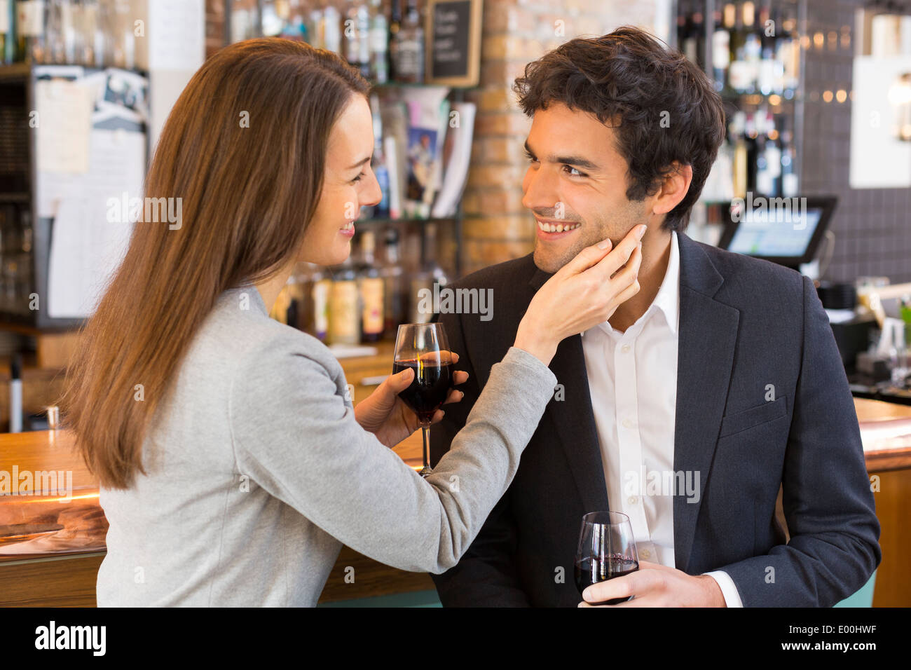 Woman man cheerful lover drinking bar coffee - Stock Image