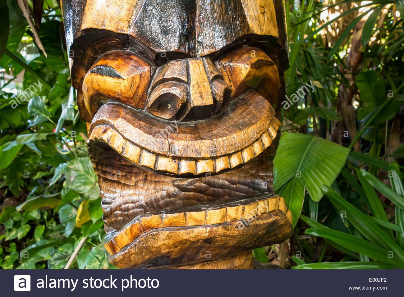 Tiki Hawaiian culture statue in shopping area of Kihei on the island of Maui in the State of Hawaii USA Stock Photo
