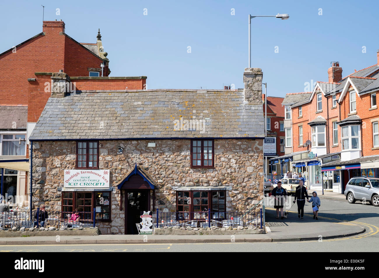 Cafe in old stone cottage on the seafront in Rhos-on-Sea, Colwyn Bay, Conwy, North Wales, UK, Britain - Stock Image