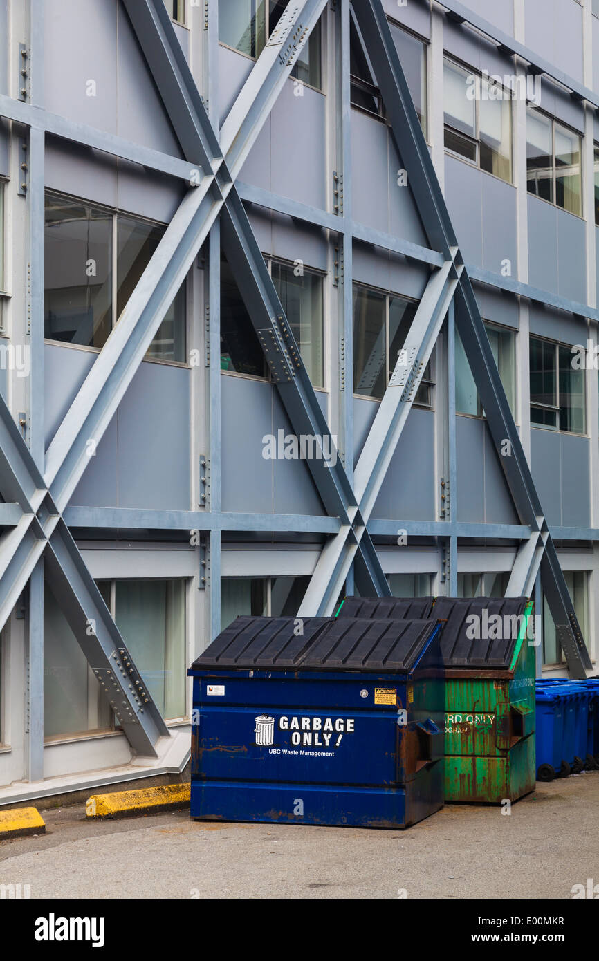 Diagonal steel bracing added to a building for a seismic upgrade Stock Photo