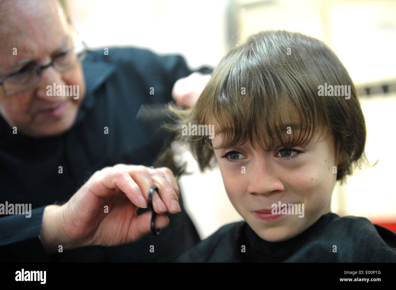 Haircut Barbers Boy Child Barber Yorkshire Cutting 9 Year Old Stock
