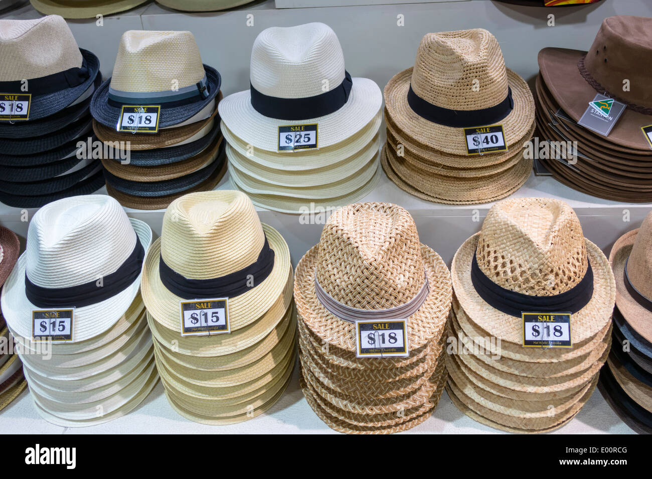 Sydney Australia NSW New South Wales Haymarket Paddy's Markets shopping hats fedoras sale display prices fashion - Stock Image