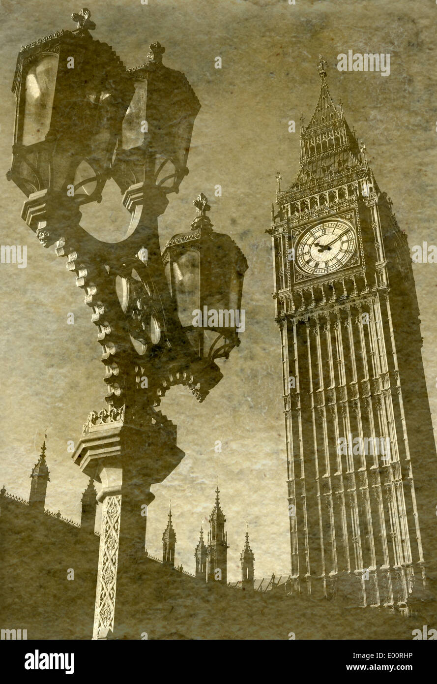 Vintage Antigue Picture of Big Ben/the Houses of Parliament in London. Stock Photo