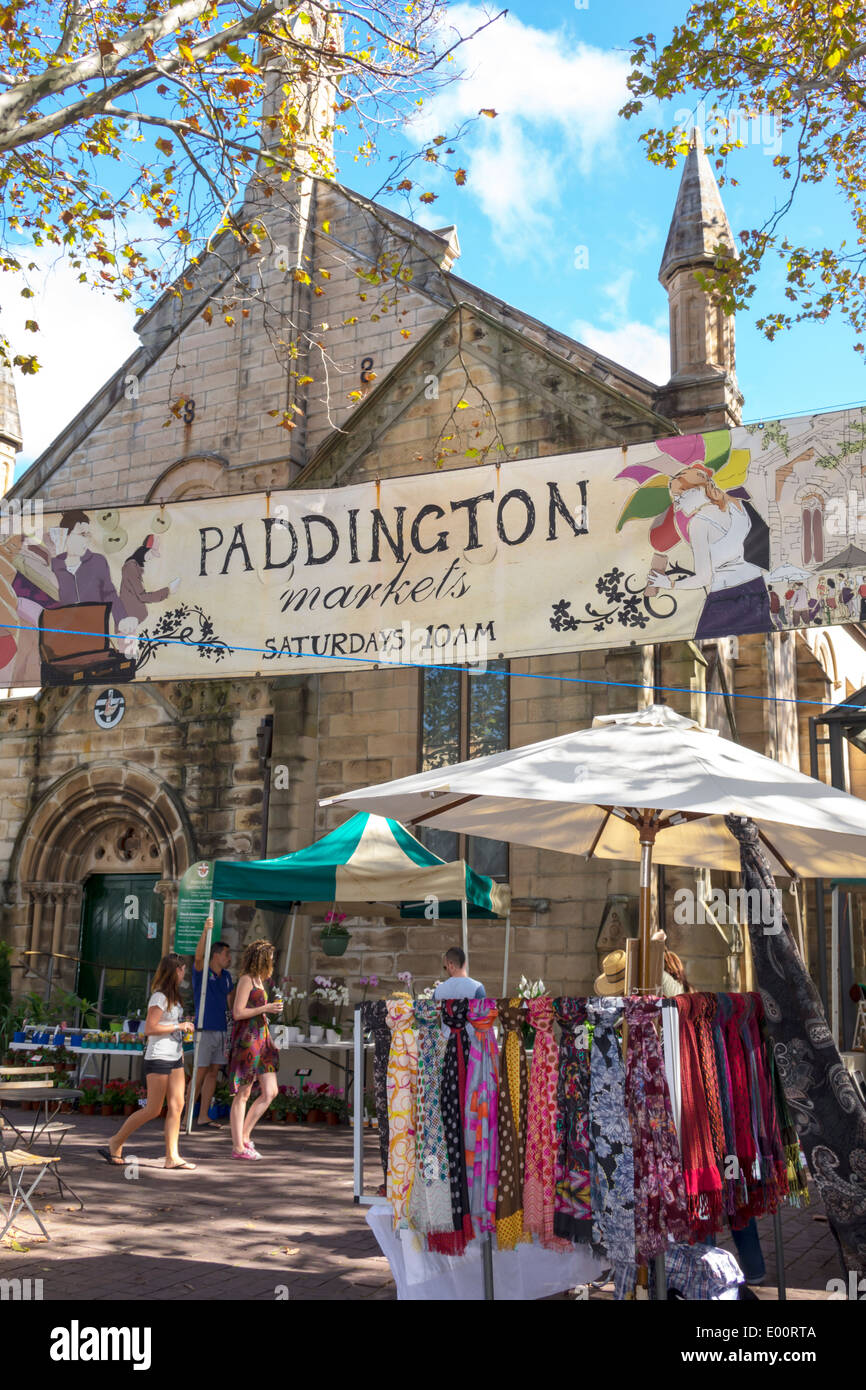 Sydney Australia NSW New South Wales Paddington Oxford Street Paddington Markets shopping display traders vendors sale community Paddington Unify Chur - Stock Image