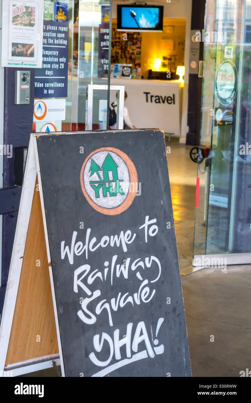 Sydney Australia NSW New South Wales Haymarket Railway Square YHA youth hostel association information lobby entrance Stock Photo