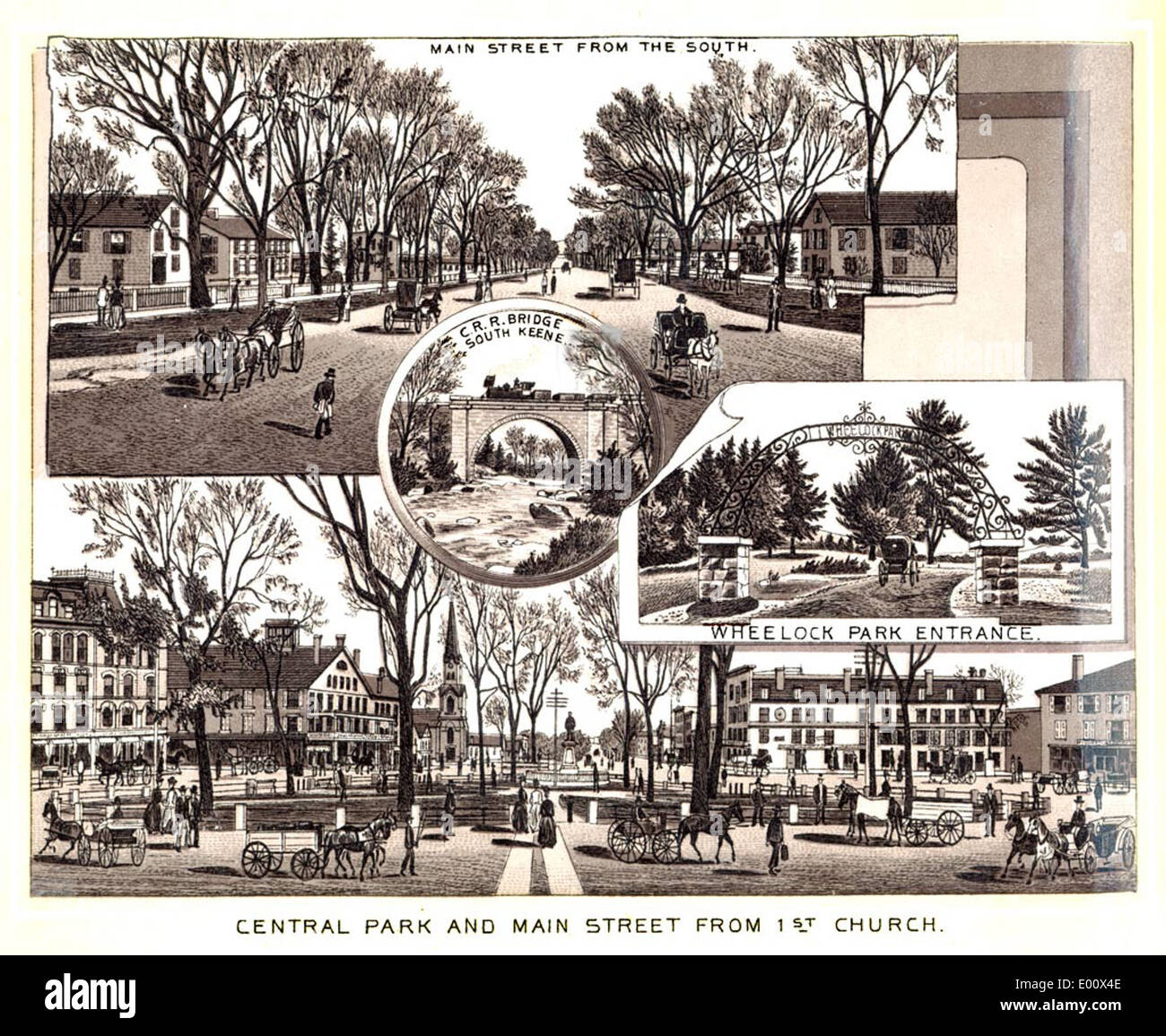 Central Park and Main Street, Keene NH - Stock Image