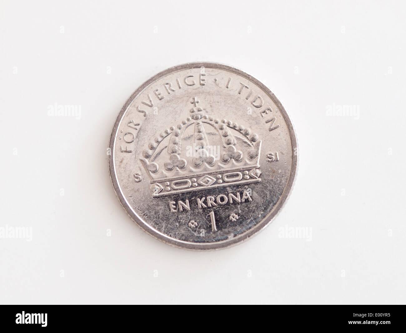 A Swedish one krona coin. - Stock Image