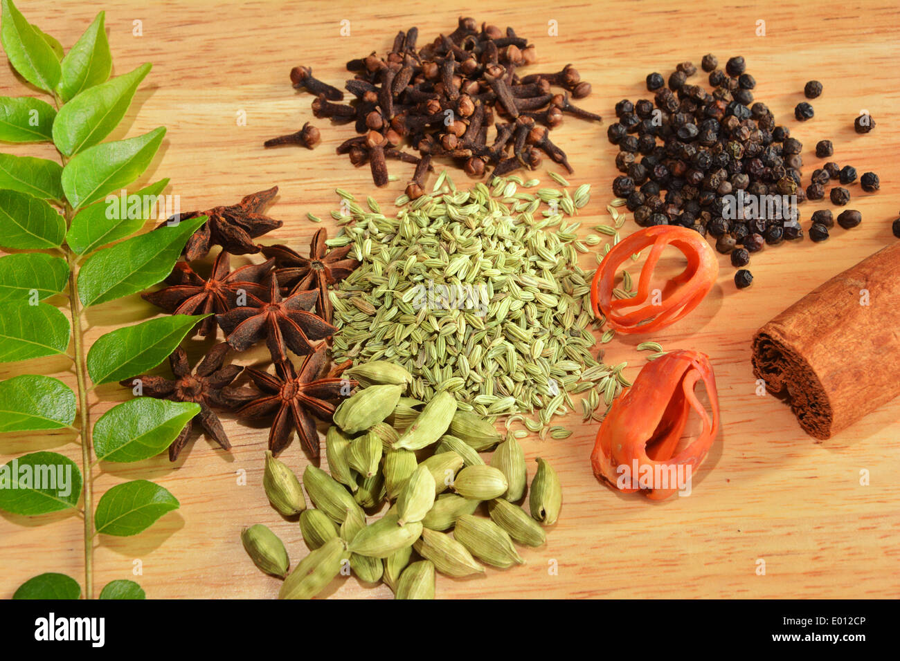 assortment of spices from Kerala - Stock Image