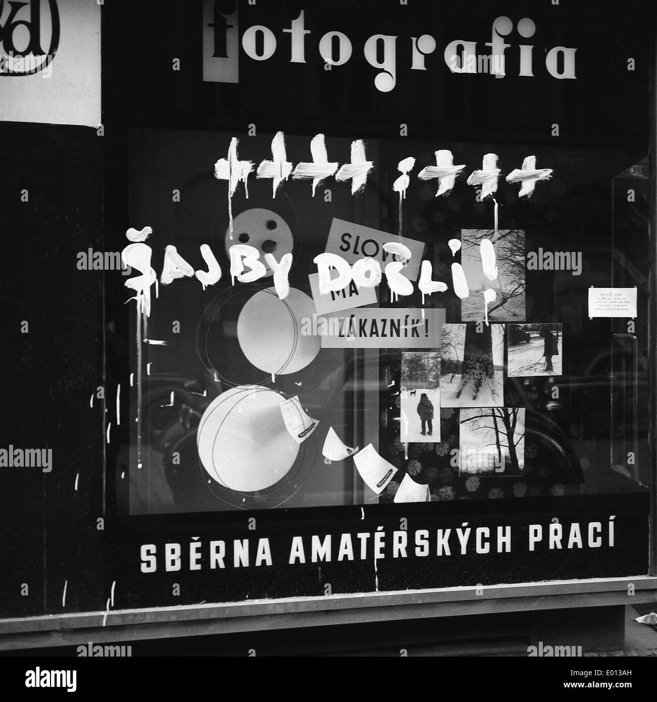 Shop window in Prague after an ice hockey World Cup match in Sweden, 1969 Stock Photo