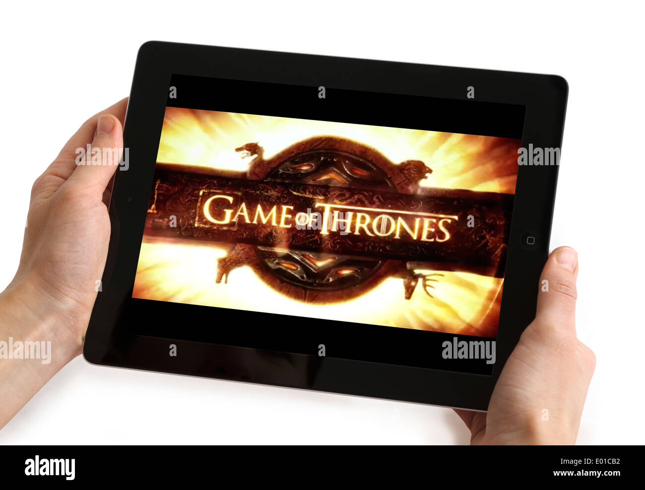 Watching 'Game of Thrones' on an Apple iPad tablet computer - Stock Image