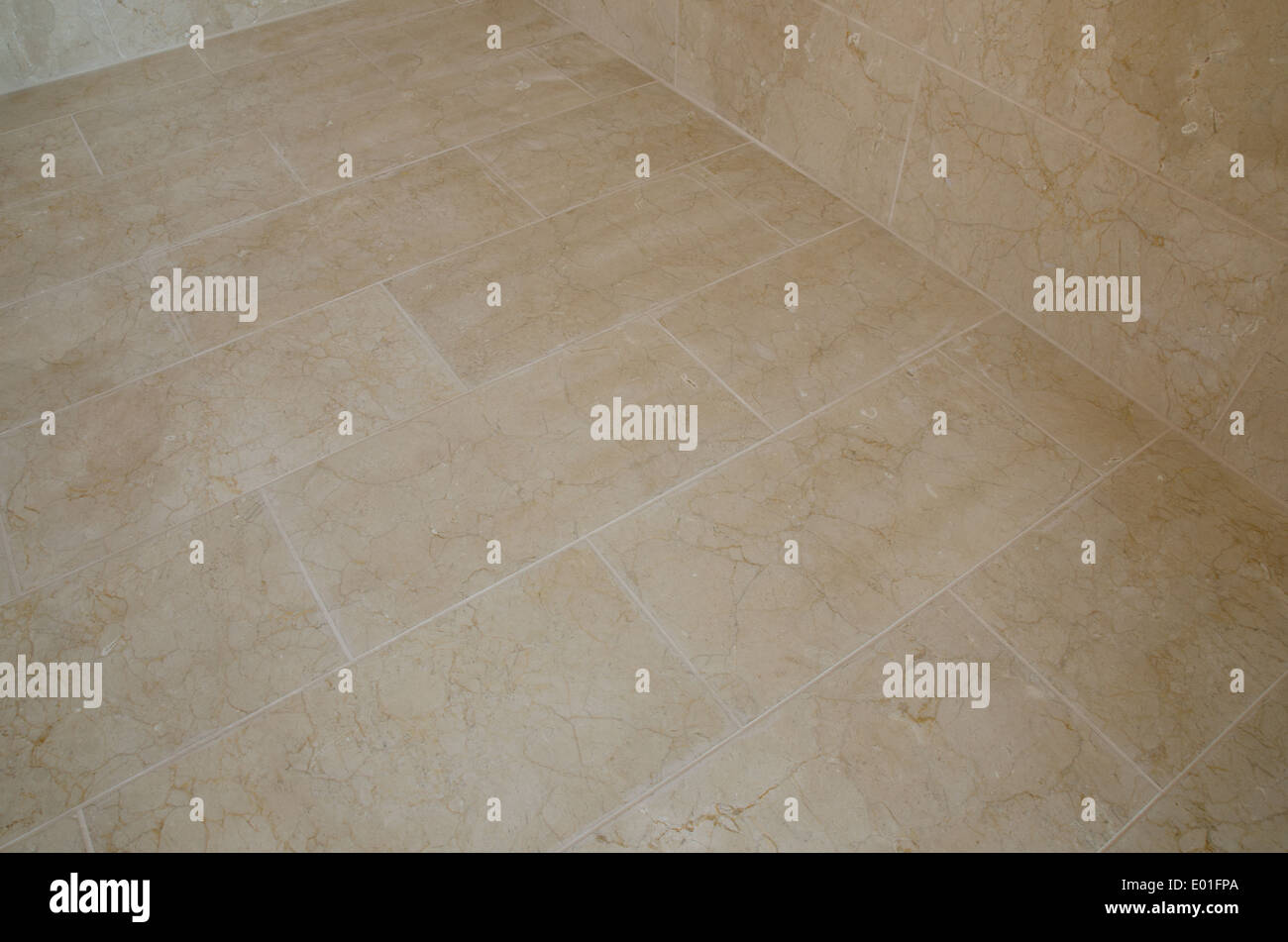 A Newly Tiled Bathroom Floor With Marble Tiles   Stock Image