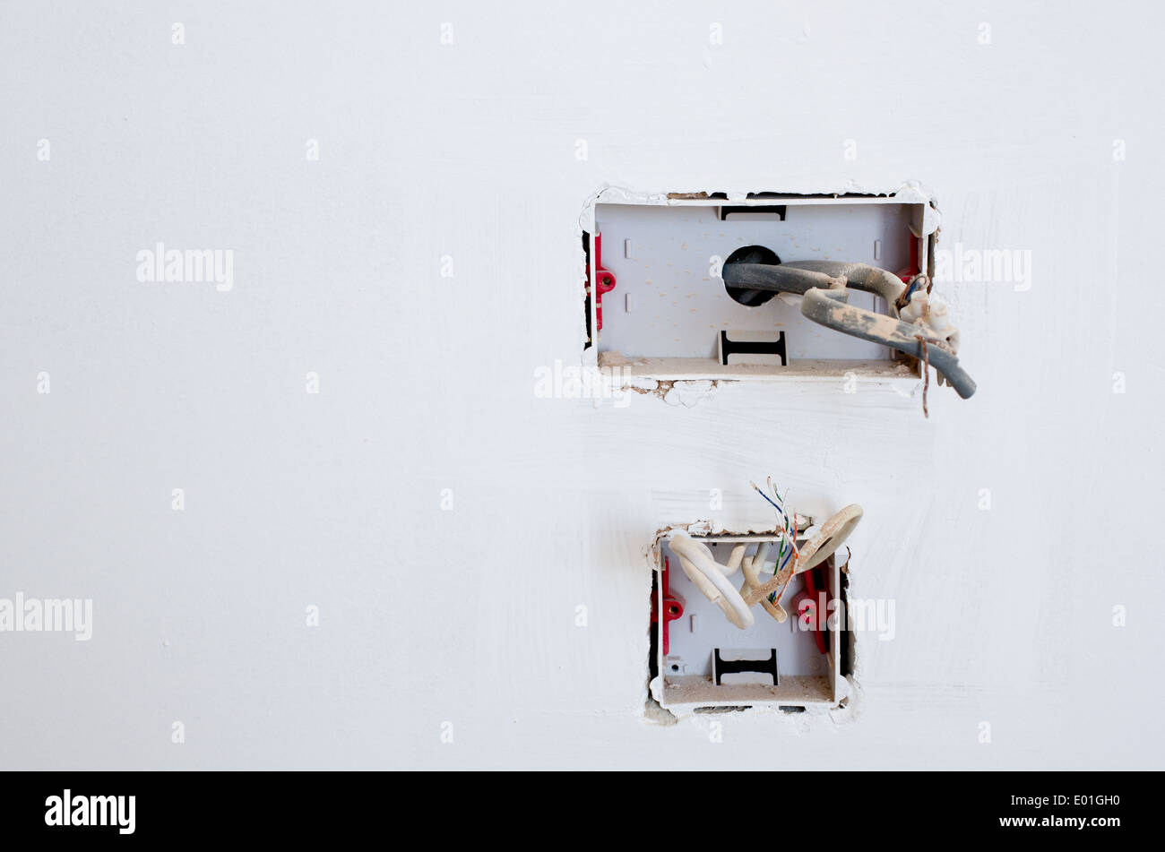 Electrical Socket Wiring Image Stock Photos Ac Exposed In An Unfinished Plug