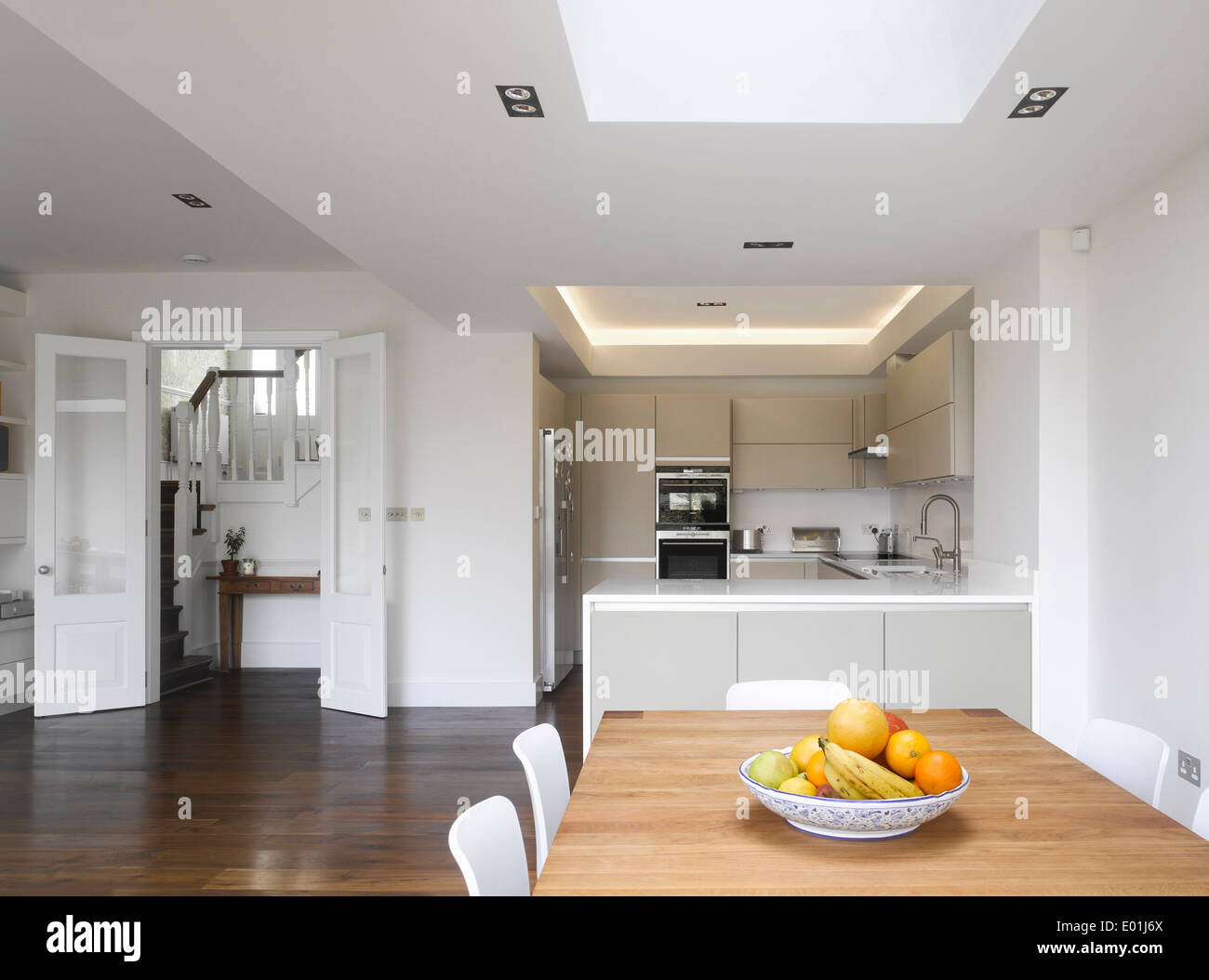 Open plan kitchen dining room of London home, Crouch End, London, UK ...