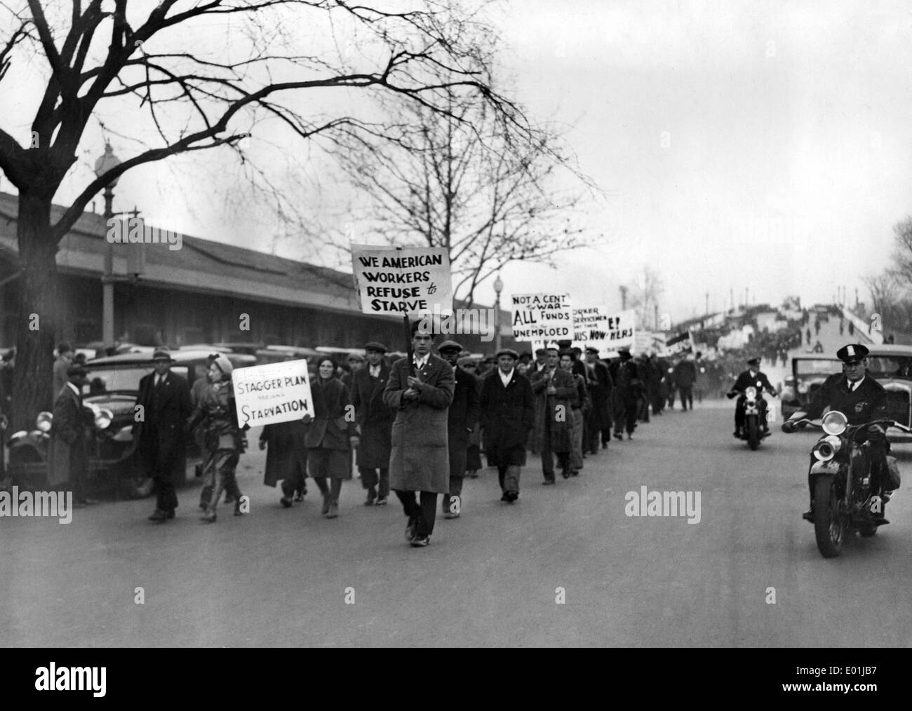 Global economic crisis: Unemployed demonstrators in America Stock Photo