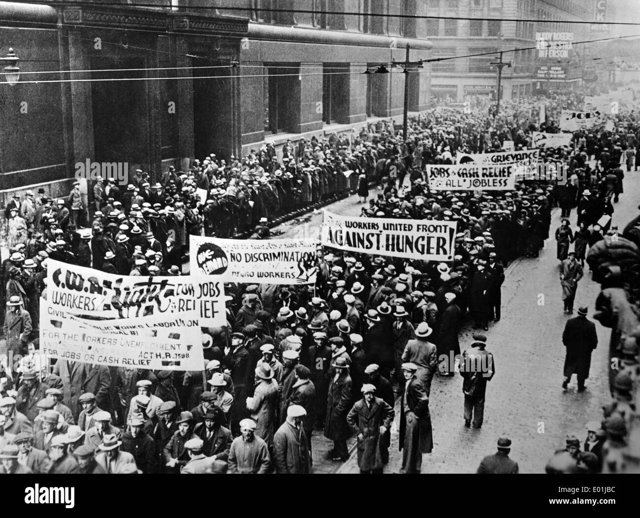 Global economic crisis: Unemployed demonstrators in New York Stock Photo