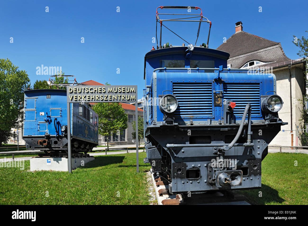 Locomotive of the Zugspitzbahn railway of 1929, Deutsches Museum Verkehrszentrum, German Museum Transportation Centre, Munich - Stock Image