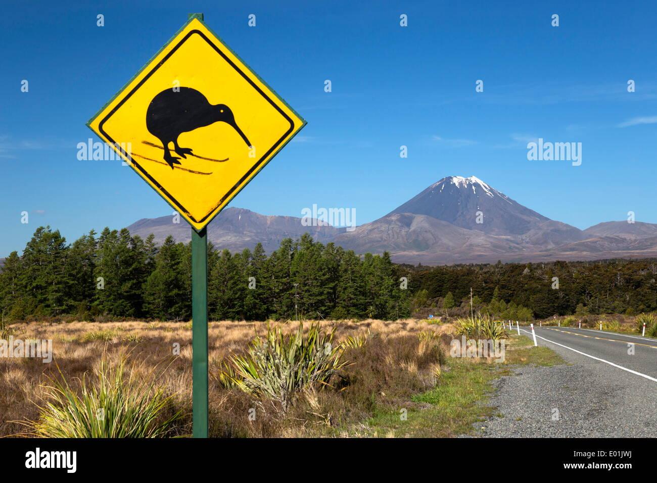 Mount Ngauruhoe with Kiwi crossing sign, Tongariro National Park, UNESCO World Heritage Site, North Island, New Zealand, Pacific - Stock Image