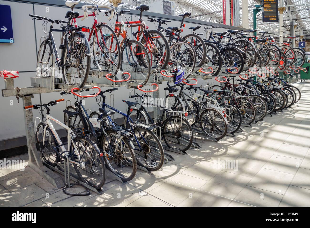 Bicycle rack at Waverley Train Station Edinburgh. - Stock Image