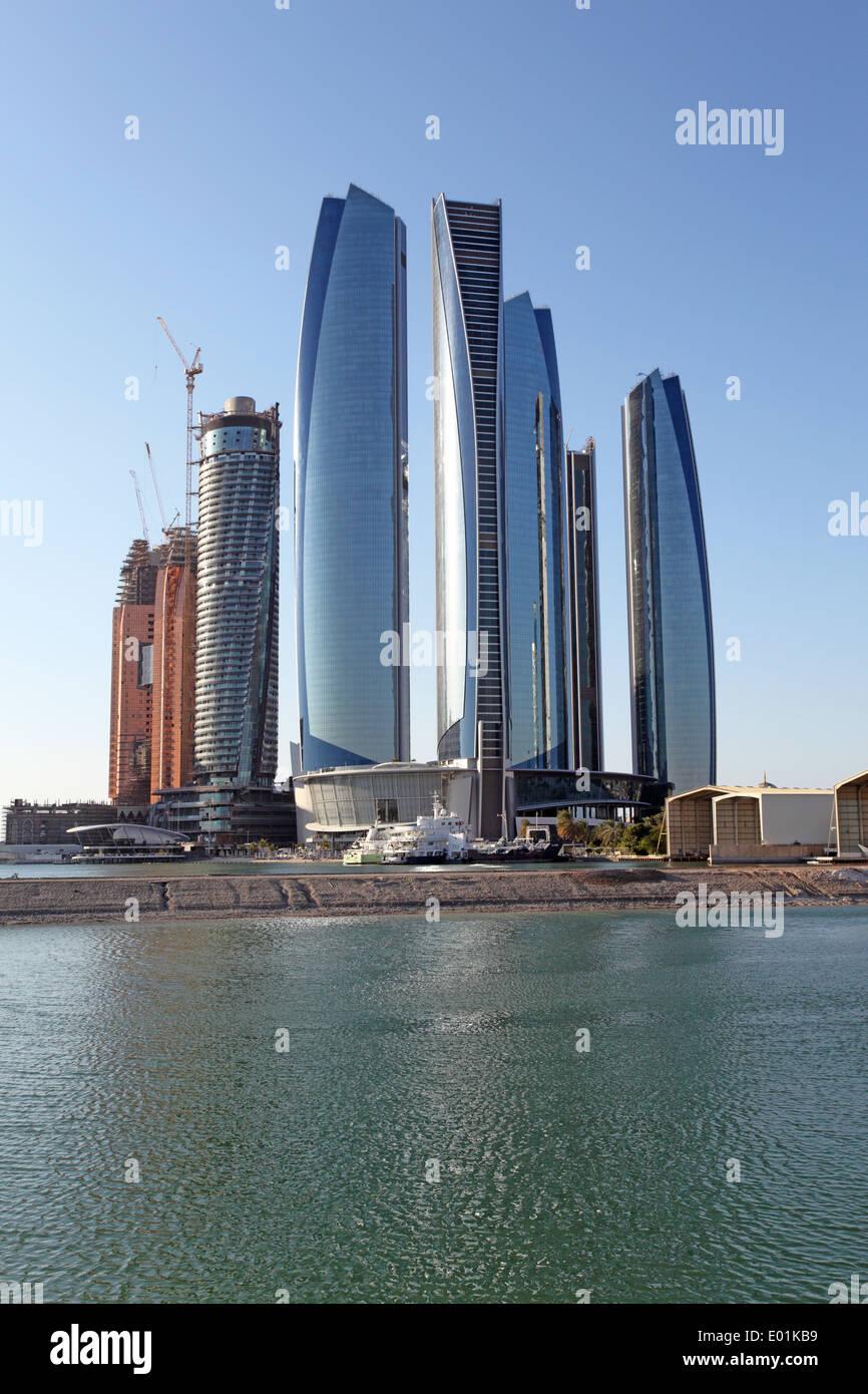 The Etihad Towers in Abu Dhabi, United Arab Emirates - Stock Image