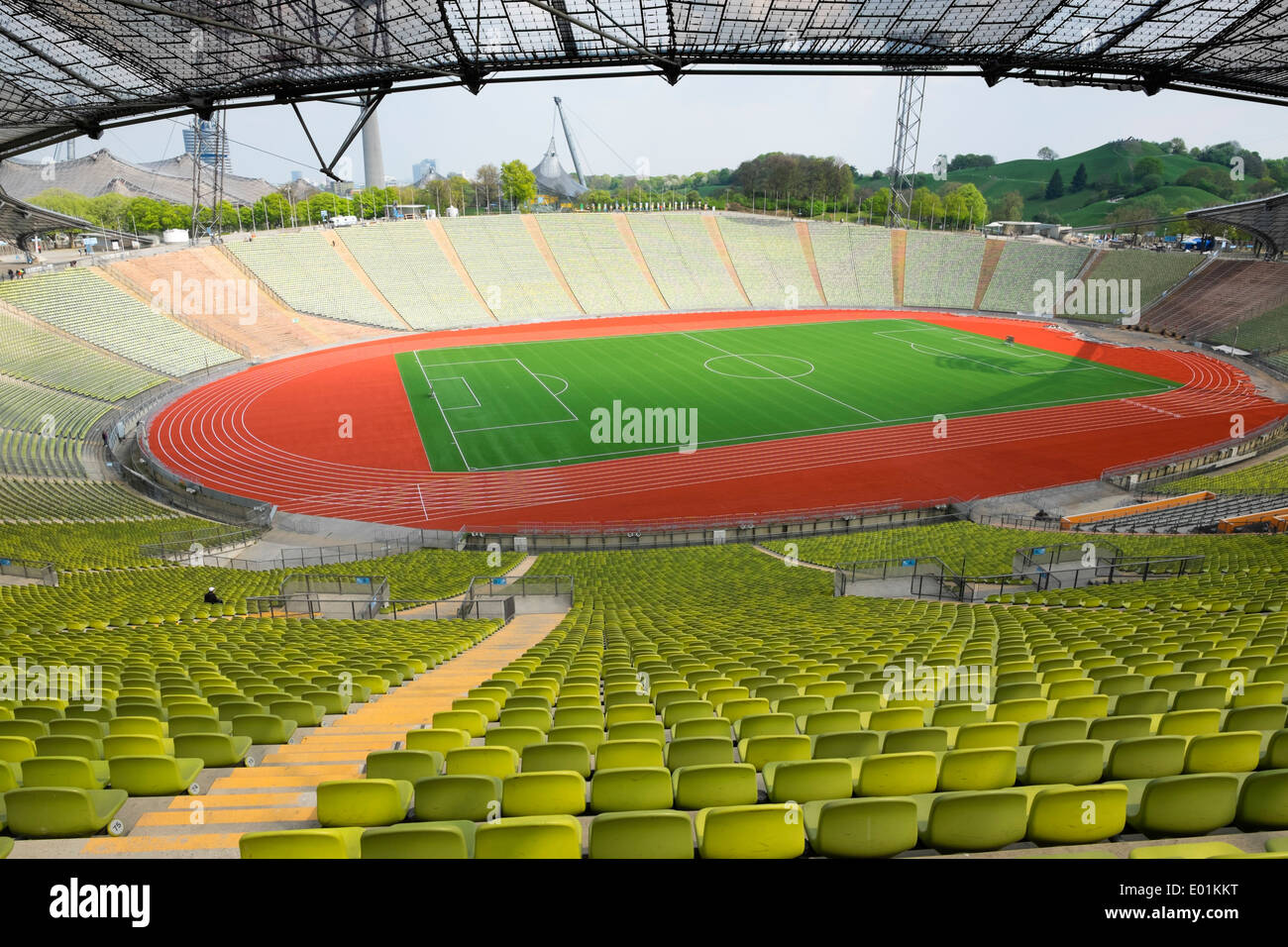 Interior of the former Olympic Stadium at Olympic Park in Munich Bavaria Germany - Stock Image