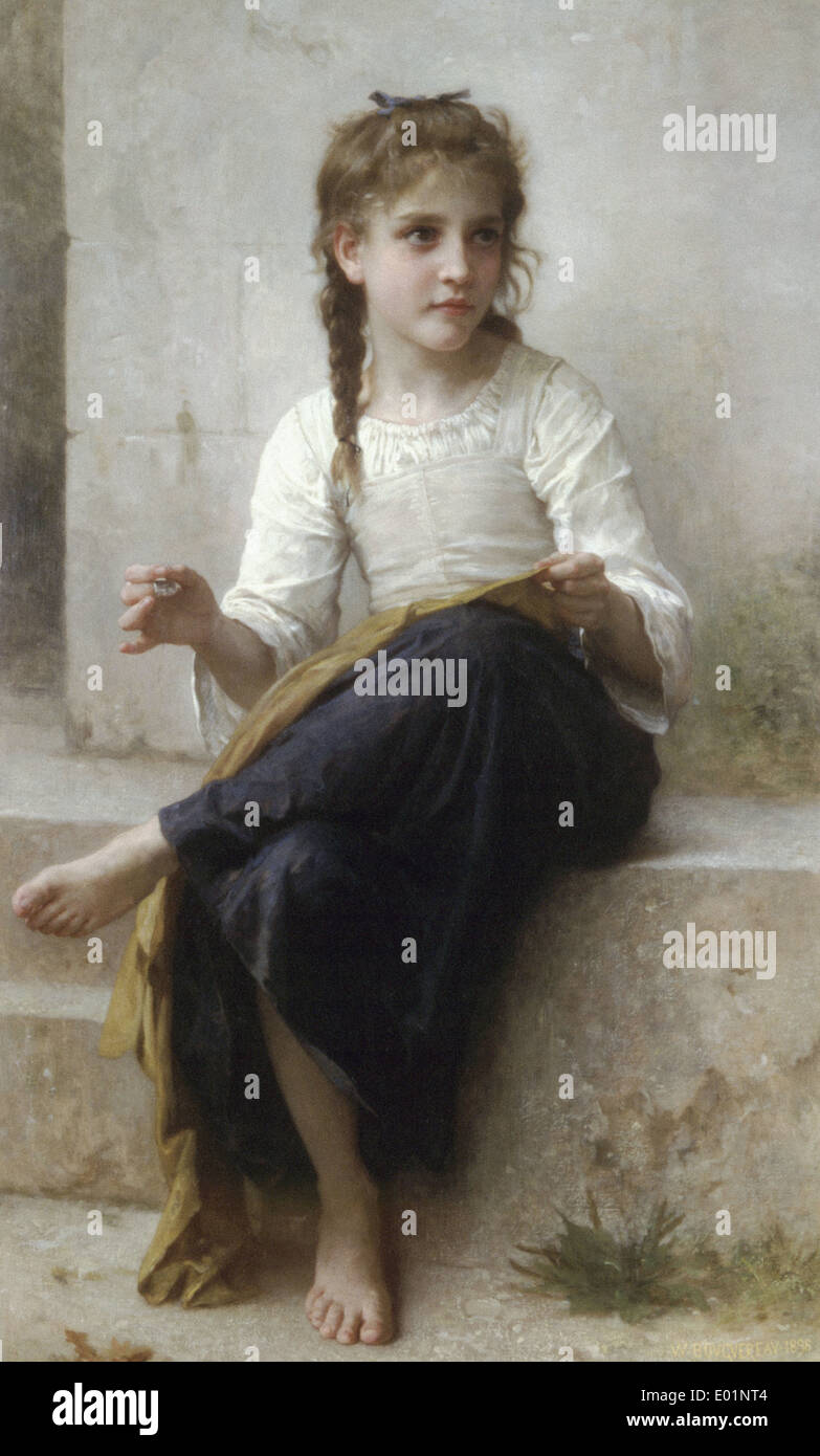 William Bouguereau Sewing - Stock Image