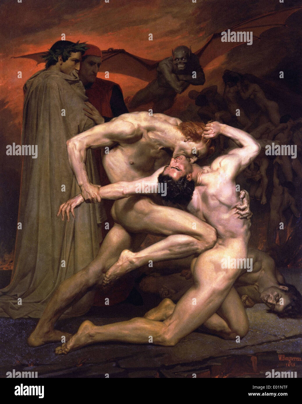 William Bouguereau Dante and Virgil in Hell Stock Photo
