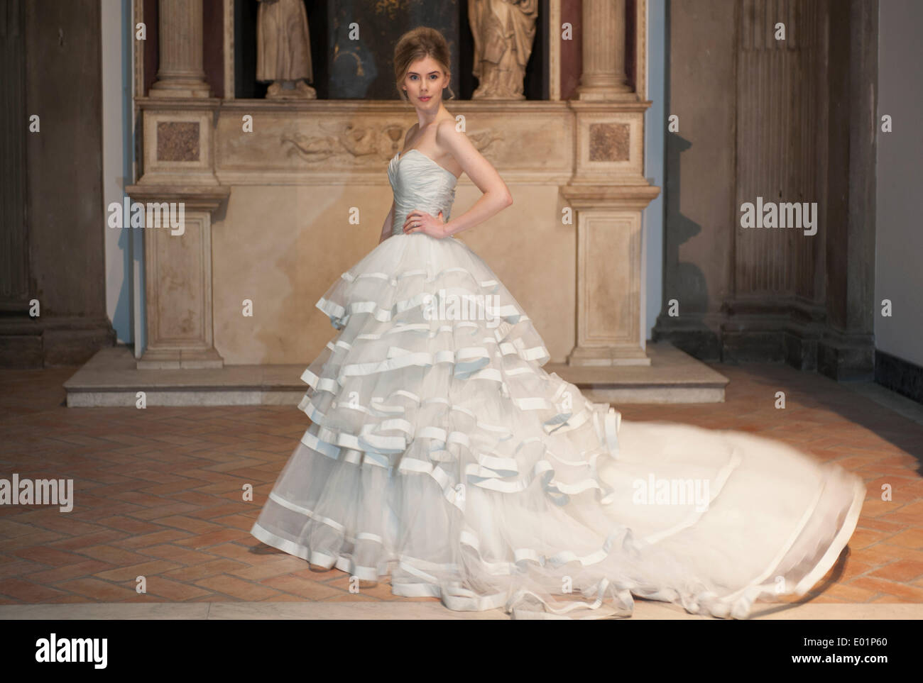 Victoria & Albert Museum, London, UK. 29th April 2014. Photocall, Wedding Dresses 1775-2014 exhibition opening on Stock Photo